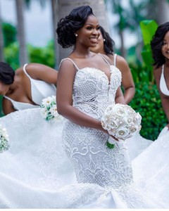 Image 4 - Robe de mariée sirène africaine de luxe, Robe de mariée en dentelle pour filles noires, faite à la main, robes de grande taille