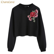 Фотография CHAMSGEND Fashion New Women Hoodies Rose Embroidery Casual Style Black Sweatshirt Female Cotton Pullovers Female Outwear Trendy