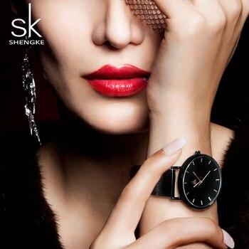 1ee500b12873 2018 Shengke relojes de mujer negros de moda de alta calidad reloj de  cuarzo ultrafino de mujer vestido elegante reloj de mujer Montre Femme SK
