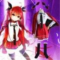 Trajes Cosplay Anime DATE A LIVE Kotori Itsuka (Blazer + Camisa + Saia + Gravata + + Broche Longo Meias + Acessório de Cabelo)
