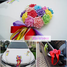 Seven color rainbow Heart Foam rose+ribbon bowknot flower Rearview mirror doorknob car decorate wedding anniversary(China)