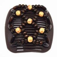 20 шт./лот коричневый бисер гребень классическая деревянная стиль профессиональная работа Леди аксессуары для волос легко Применение