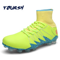 TOURSH Football Shoes High Ankle Men Soccer Cleats Superfly Chuteira Futebol Original Long Spikes Zapatillas Hombre