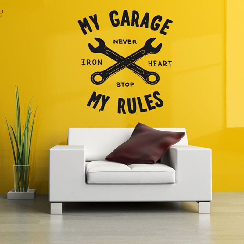 YOYOYU Vinyl Wall Decal Art Sticker Home Decor Sticker Mural Decal My Garage My RulesPoster Removebale Mural Poster YO484