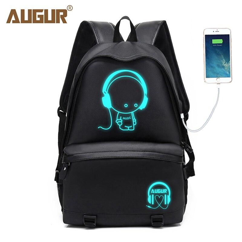 4624551087 AUGUR Men Backpacks PU Leather USB Charging Travel Waterproof 15.6 inch Laptop  Back pack Teenager Student school Bagpack women-in Backpacks from Luggage  ...