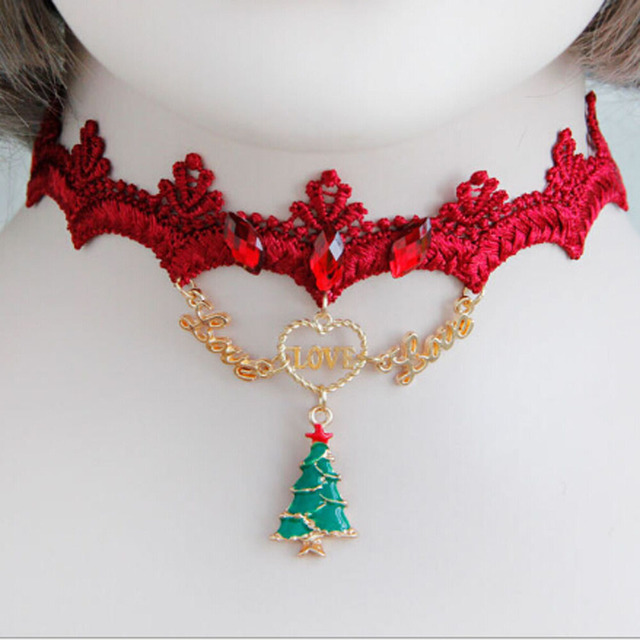 Christmas Tree Necklaces Women Girl Love Letter Party Dress Accessories New  Design Neck Ornament Jewelry Necklace - Christmas Tree Necklaces Women Girl Love Letter Party Dress
