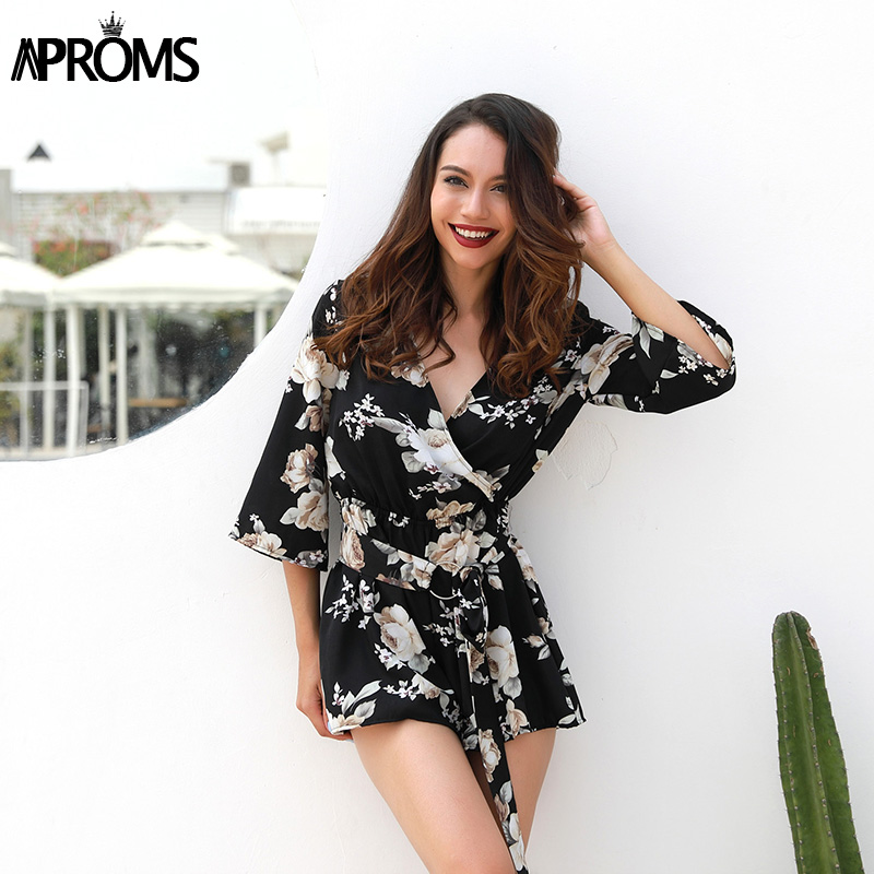 Aproms Half Sleeve Boho Floral Print Rompers Women Jumpsuit 2018 Elegant Summer Soft Overalls Casual Sash Tie Up Playsuit Female