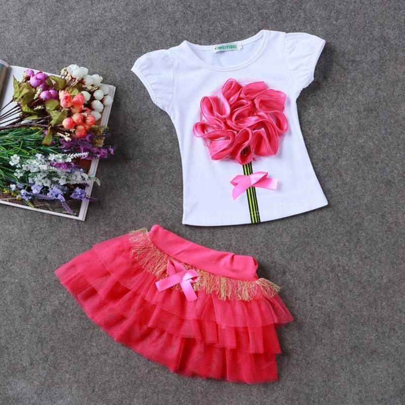 Baby Kids Girls Cloth Set Toddler Princess Party Flower T-Shirt+Tulle Tutu Skirt Hot Selling 2PCS
