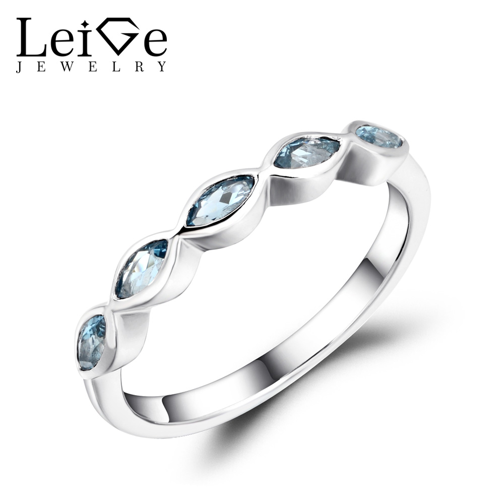 Leige Jewelry London Blue Topaz Wedding Band Stackable Rings Marquise Cut Blue Gemstone Sterling Silver 925 Fine Jewelry vera blue london