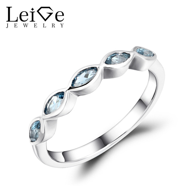 Leige Jewelry London Blue Topaz Wedding Band Stackable Rings Marquise Cut Gemstone Sterling Silver 925