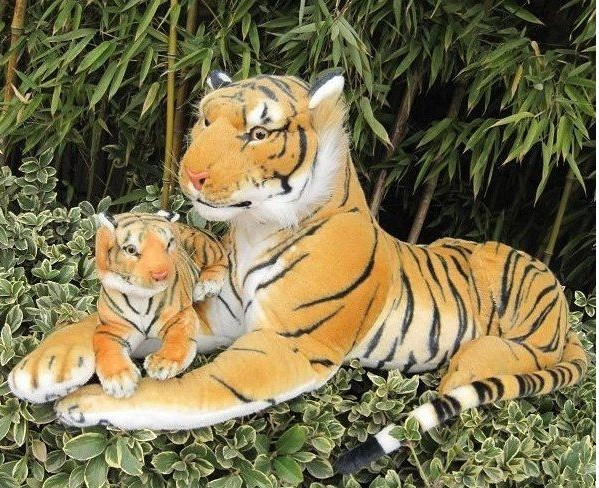 simulation cartoon yellow tiger 75cm mother& 30cm child tiger plush toy Christmas gift h699 stuffed animal 110 cm plush simulation lying tiger toy emulation yellow tiger doll great gift free shipping w400