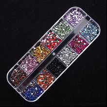 New Mix 12 Color 2mm Circle Beads Nail Art  Tips Rhinestones Glitters Gems Decoration