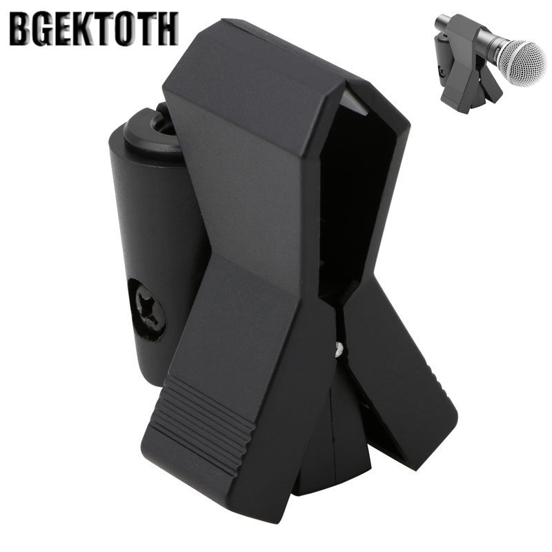 BGEKTOTH Flexible Microphone Mic Stand Accessory Plastic Clamp Clip Holder Mount Black