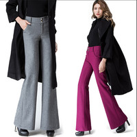 European Style Wide Leg Pants Straight Trousers Loose Fashion Office Pants Warm Autumn And Winter Wool