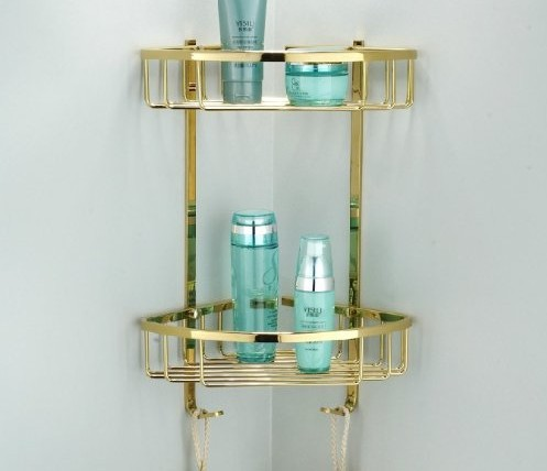 Dual Tier Corner Bracket Golden Brass Bathroom Shelf Shower Caddy Basket Holder black bathroom shelves stainless steel 2 tier square shelf shower caddy storage shampoo basket kitchen corner shampoo holder