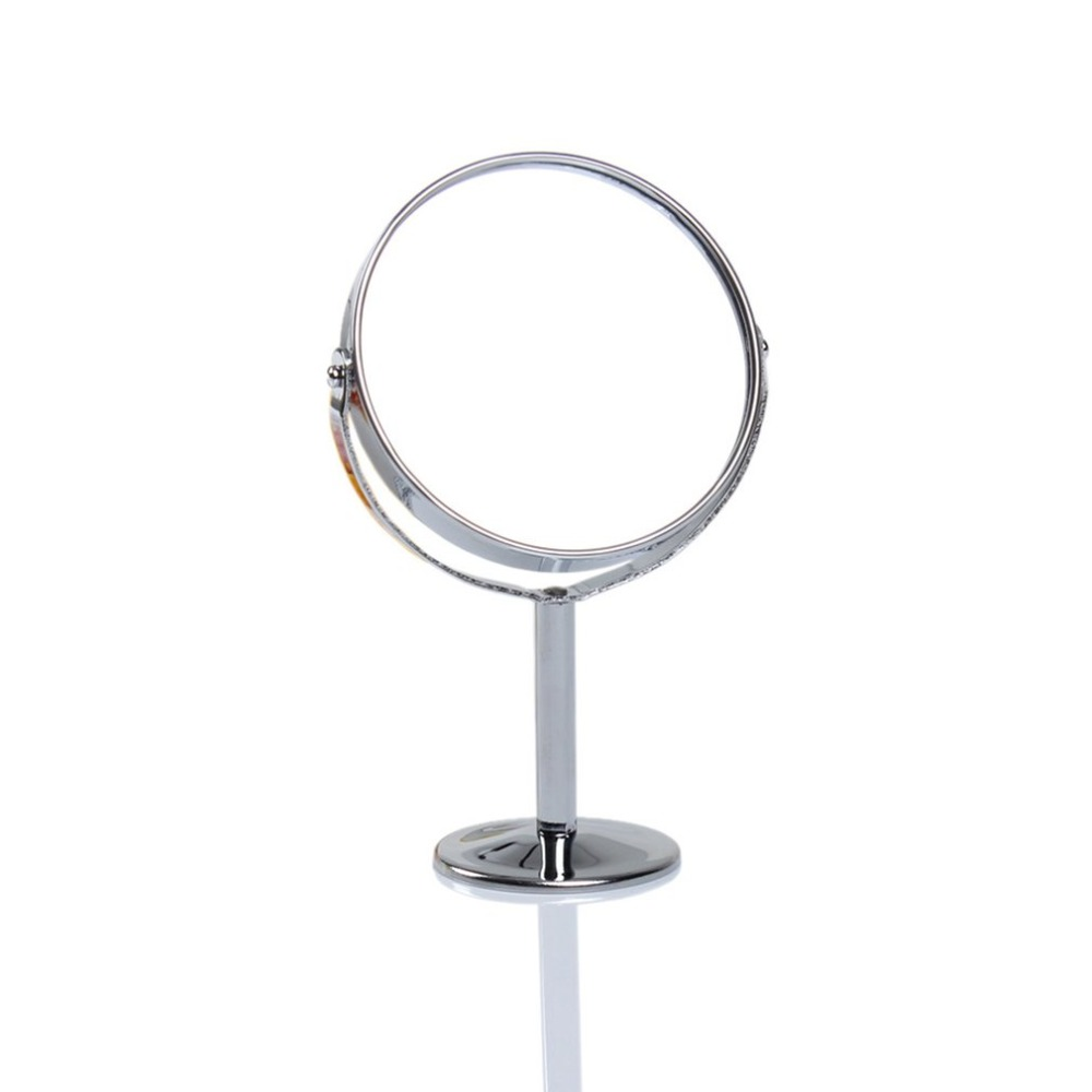 Double Face Dressing Mirror 360 Degree Rotating Portable Mini Cosmetic Makeup Mirror Silver Round Magnified Mirrors Make Up Tool in Makeup Mirrors from Beauty Health
