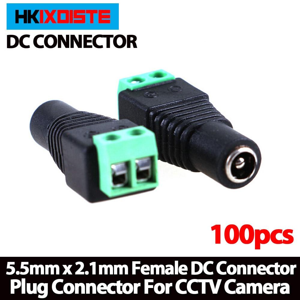new arrival,100pcs/lot Female DC Connector 5.5/2.1mm CCTV UTP DC Power Plug Adapter Cable DC/AC 2/Camera Video Balun 100 pcs cctv video balun 5 5x2 1mm dc power plug terminals connector detachable