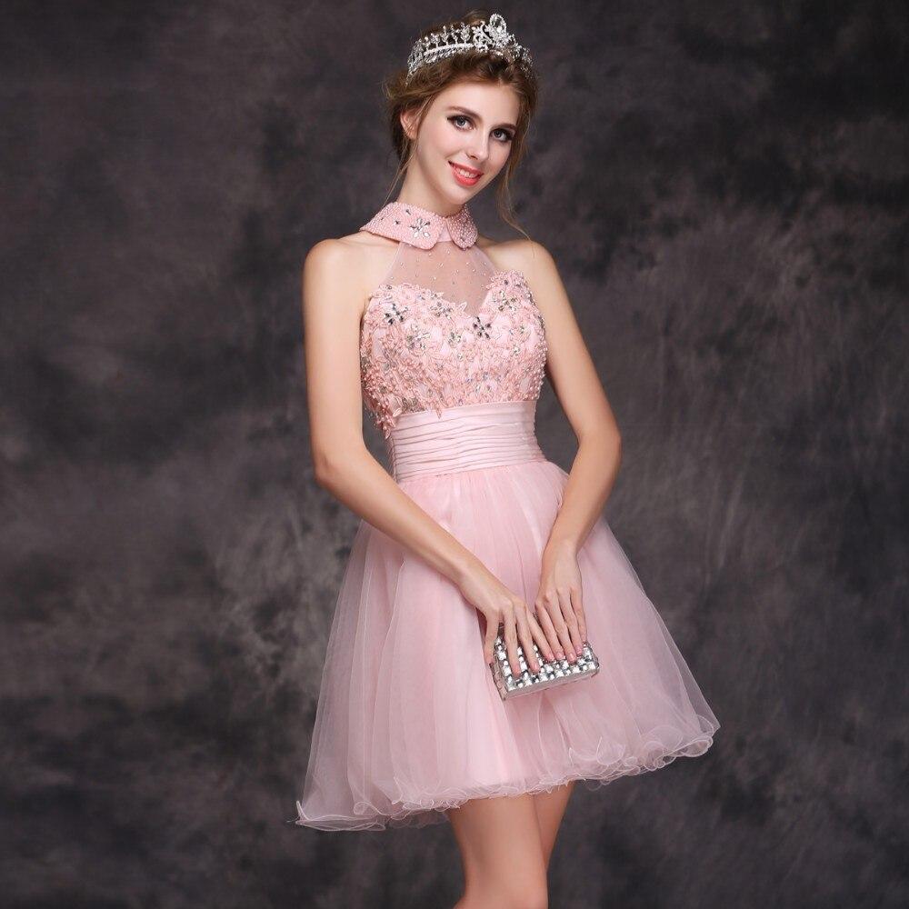 Discount Designer Dresses Cocktail: Wholesale Prom Dress 2015 Fashion Pink Sweet Soft Yarn