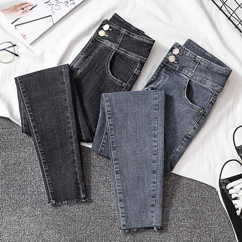 Streetwear High Waist Skinny Pencil   Jeans   Woman Blue Black Stretch Mom   jeans   Plus Size Ladies women   jeans   pants   jeans   femme