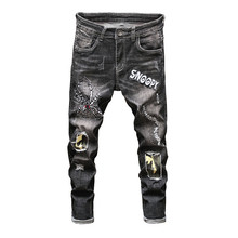 цена на New Fashion High Street Men Jeans Pants Embroidery Ripped Hole Skinny Slim Straight Frayed Skinny Jeans Men Denim Trousers