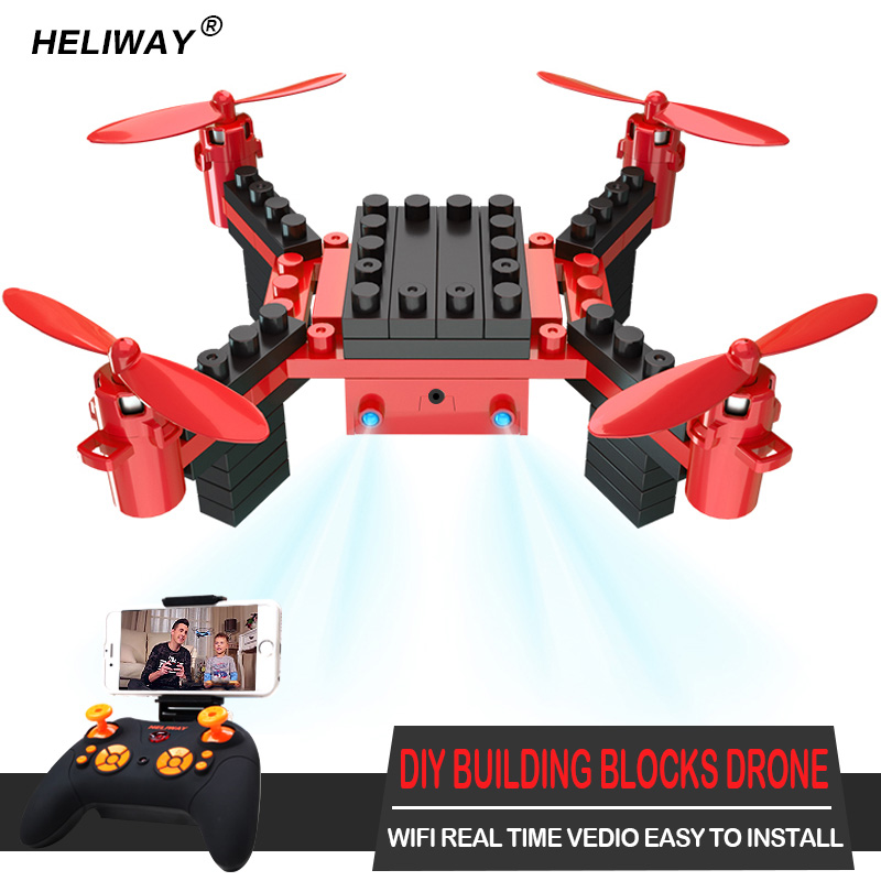 HELIWAY Building Blocks RC font b Drone b font with Camera 6 Channel RC Assembling DIY