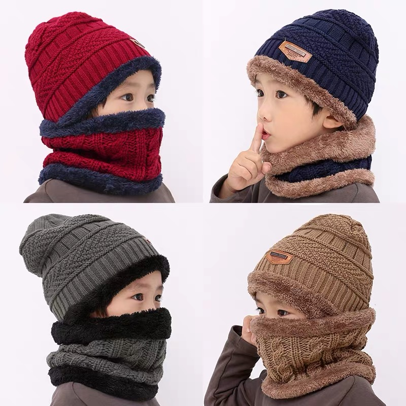 2Pcs Kids Winter Knitted Hats+Scarf Set Warm Fleece Lining Cap for 2-10 Year Old