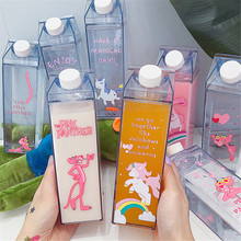 Cartoon Water Bottles Milk Box Shape Plastic Cups Students Cute Pink Panther Drink Bottle for Juice Coffee Tea Drinkware