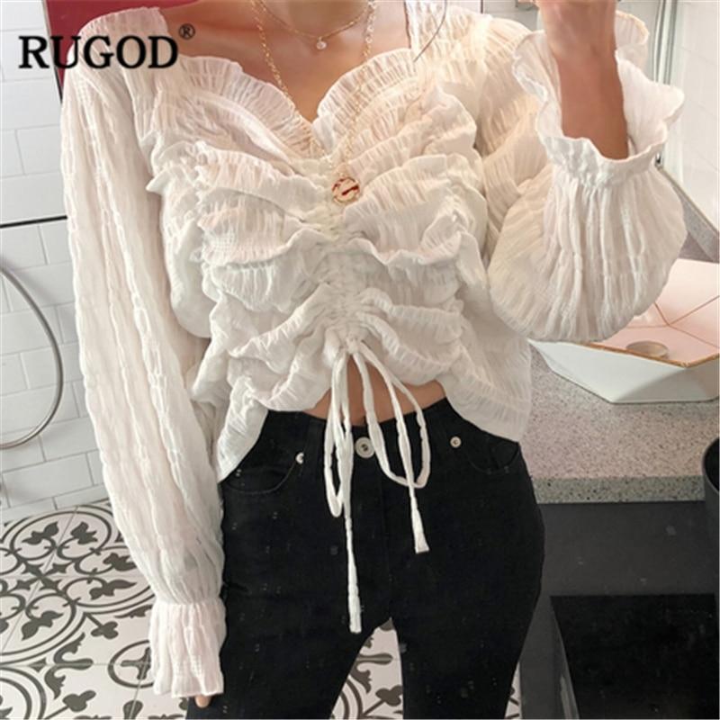 RUGOD Chiffon Elegant Solid Women Blouses Flare Sleeves V Neck Middle Pleated Slim Vintage Korean Style Modis Femme Blusas Mujer