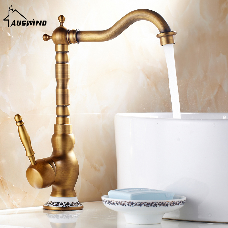 European style antique brass faucet hot and cold water mixing brushed faucet blue and white porcelain decorative faucetEuropean style antique brass faucet hot and cold water mixing brushed faucet blue and white porcelain decorative faucet
