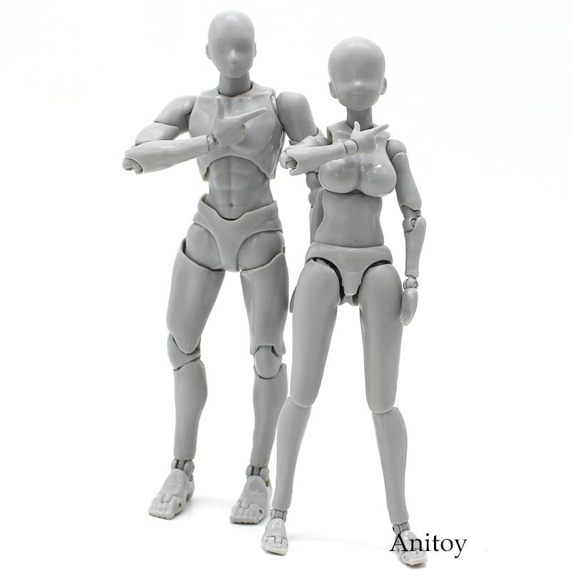 Anime SHF BODY KUN/CHAN DX SET couleur gris Ver. Figurine en PVC à collectionner modèle jouet 14cm 2 Styles