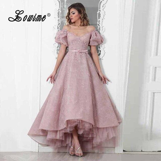 Pink High Low Evening Dresses 2017 V-Neck Lace Avondjurk Formal Dress  Custom Made Short Sleeve Prom Gowns Robe Dubai Party Dress e14800a6721d