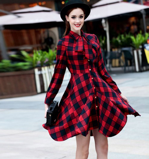 Preppy Style Dress New 2016 Spring Fashion Women Long Sleeve Knee Length High Quality Casual