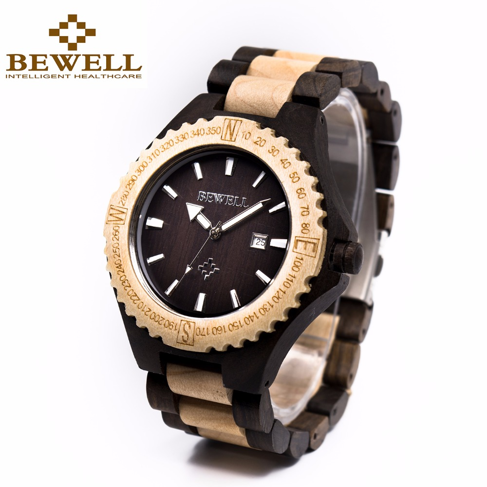 BEWELL Mens Natural Wooden Wristwatch Wood Watch Quartz Movement with Date Winder retail box Relogio Masculino 023A