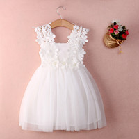 New XMAS Baby Girls Party Lace Tulle Flower Gown Fancy Dridesmaid Dress Sundress Girls Dress