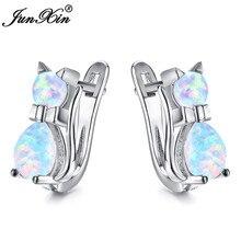 Милые женские маленькие серьги-кольца с котом, синие, фиолетовые, розовые, белые серьги с огненным опалом для женщин, 925 пробы, серебряные, розовые, золотые серьги