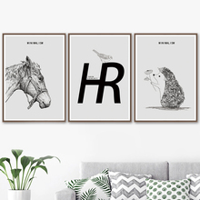 Horse Hedgehog Bird Hand drawn animals Wall Art Canvas Painting Nordic Posters And Prints Wall Pictures For Living Room Decor nordic style hand drawn diy animals head hipsters pvc wall sticker