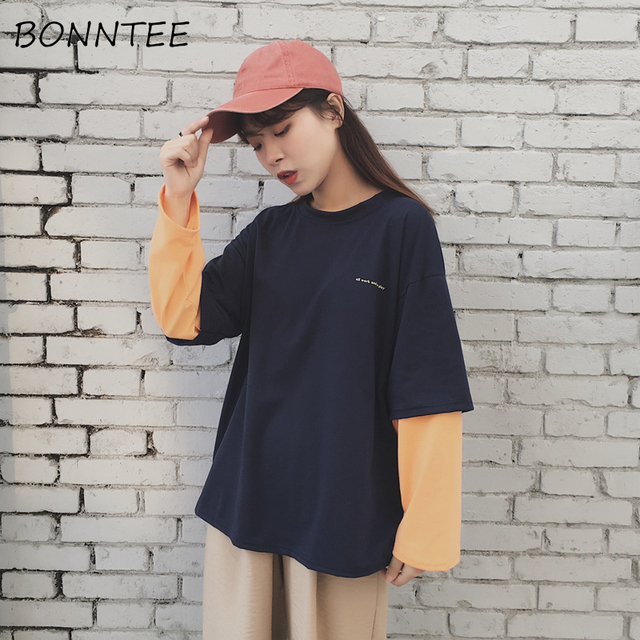 T-shirts Women Fake Two Piece Ulzzang Harajuku BF Patchwork Loose Tees Chic  Womens T-shirt Korean Style All-match Fashion Casual fcdd60e7edc0