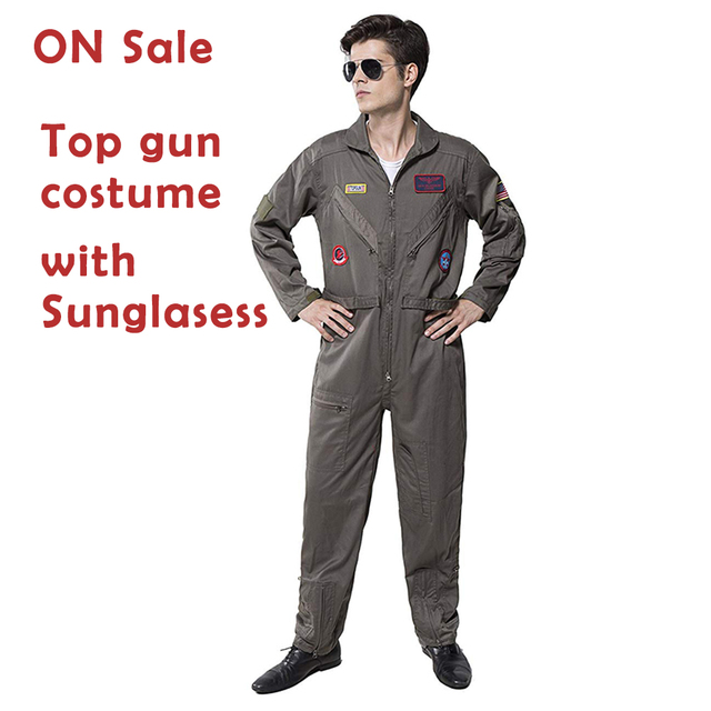 d190bd9d01b1 Men s Pilot Aviator Top Gun Costume Adult Halloween Overalls Flight Suit  Movie Cosplay Policeman Party Adult Cosplay Jumpsuit