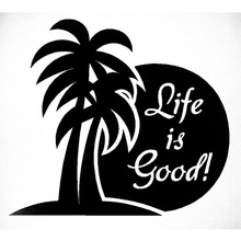 15cm*15cm Life Is Good Palmtree~ Decal Funny Creative Car Sticker Car Window Truck Offroad Vinyl Accessories(China)