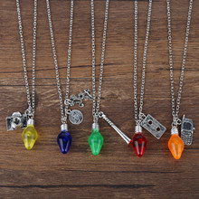 HANCHANG TV Jewelry Stranger Things Necklace Christmas Tree Light Bulb Pendants Necklace for Female