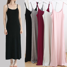 Ladies Summer Maxi Cami Dress Soft Fabric Camisole Straight Dress Casual Home Cotton Maxi Long Dress Summer Prenant Women Dress