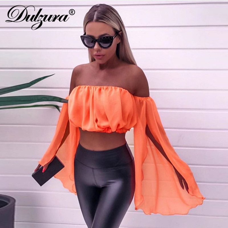 Dulzura 2019 Summer Autumn Women Shirt Chiffon Crop Top Off Shoulder Festival Elegant Ruffle Backless Sexy Clothes Tops Ladies