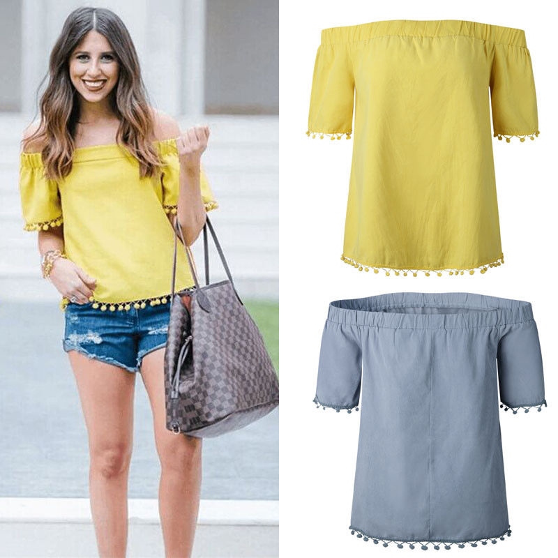 Womens Summer Loose Casual Off Shoulder T-Shirts Floral Tassel Crop Tops Short Sleeve Tees Ladies Sexy Tops Fashion