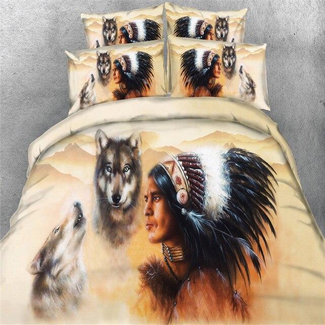 Doux 3d ensembles de literie style indien plume sauvage loup tissu housse de couette unique - Housse de couette style indien ...