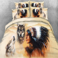 Soft 3D Bedding Sets Indian Style Feather Wild Wolf Fabric Duvet Cover Single Twin Queen King Size 3/4PCS 500tc bedspreads Boys