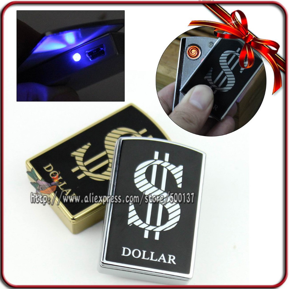 FIREDOG Gift Box Fashion Dollar Pattern W LED Electronic Windproof Flameless USB Rechargeable Cigar Cigarette Lighter