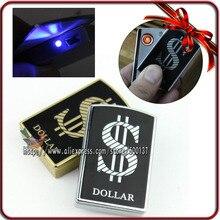 กล่องของขวัญ+แฟชั่นรูปแบบดอลลาร์W/LEDอิเล็กทรอนิกส์W Indproof Flamelessแบบชาร์จไฟUSBซิการ์บุหรี่ไฟแช็ก