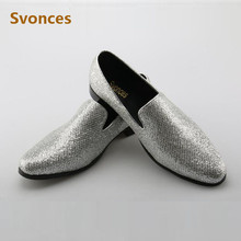 Luxury Shinny Mens Shoes Glitter Silver Shoes 2018 New Factory Customized  Slip-On Loafers Brand 7c23064e0750