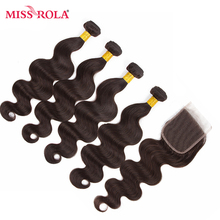 Miss Rola Hair Pre-colored Ombre Indian Body Wave Non Remy #2 100% Human Hair Weave 4 Bundles with Closure Hair Extensions Haare