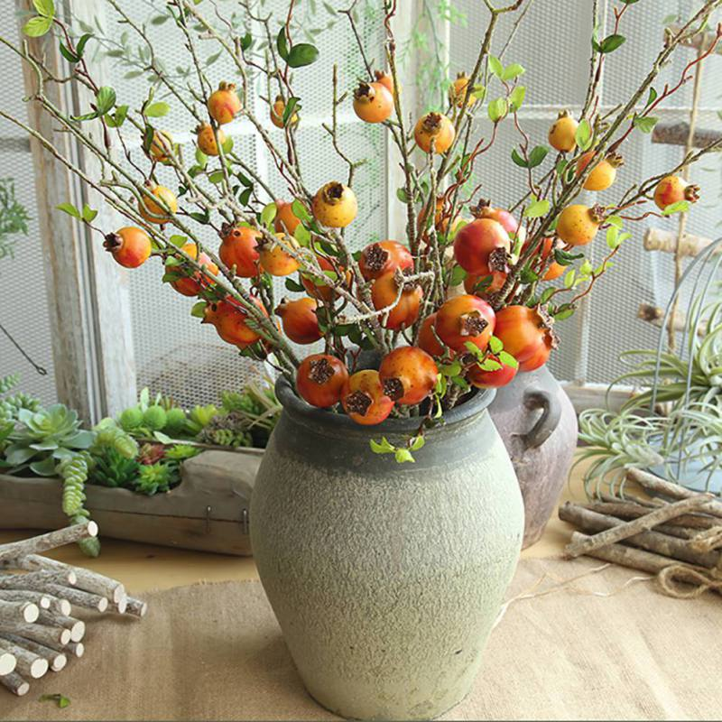 Foam Fake Pomegranate Fruit Artificial Pomegranate Fruit Leaves Branch for Flower Arrangement Living Bed Room Decoration